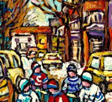 HOCKEY TOWN MONTREAL STREET HOCKEY PAINTING FOR SALE  Sticker