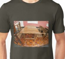Wet wooden table and chairs after the rain Unisex T-Shirt