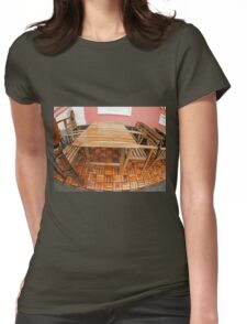 Wet wooden table and chairs after the rain Womens Fitted T-Shirt