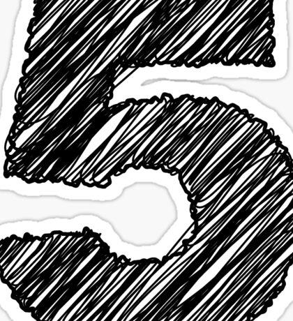 Sketchy Letter Series - Number 5 Sticker