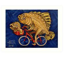 Flounder on a Bicycle Art Print