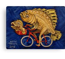 Flounder on a Bicycle Canvas Print