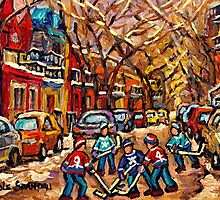 MONTREAL HOCKEY ART PAINTINGS ORIGINAL HOCKEY PAINTING FOR SALE CAROLE SPANDAU by Carole  Spandau