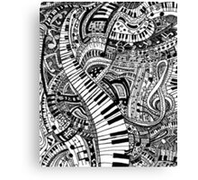 Classical music doodle with piano keyboard Canvas Print