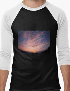 Skies and clouds over the city at sunset Men's Baseball ¾ T-Shirt