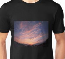 Skies and clouds over the city at sunset Unisex T-Shirt