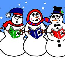 Cartoon Snowman Singing Group by Tannassie