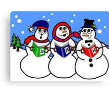 Cartoon Snowman Singing Group Canvas Print