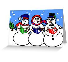 Cartoon Snowman Singing Group Greeting Card