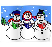 Cartoon Snowman Singing Group Poster