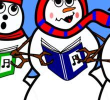 Cartoon Snowman Singing Group Sticker