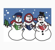 Cartoon Snowman Singing Group Kids Tee