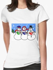 Cartoon Snowman Singing Group Womens Fitted T-Shirt