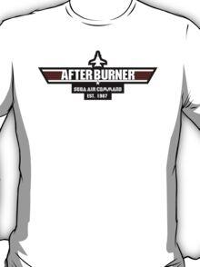 After Burner Top Gun White on Black Logo Mashup Homage T-Shirt