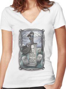 Grim Grinning Myrtle Women's Fitted V-Neck T-Shirt