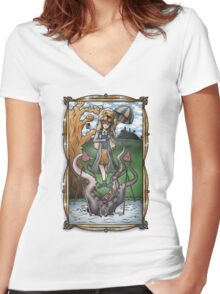 Luna's Haunting Trapeze Act Women's Fitted V-Neck T-Shirt