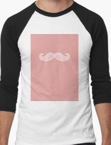 Peach & White Moustache Men's Baseball ¾ T-Shirt