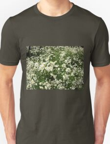 Large field overgrown with small white daisy flower T-Shirt