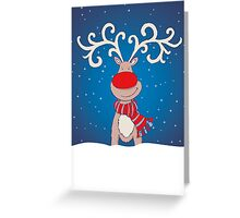 Fun Rudolph in the snow christmas card Greeting Card