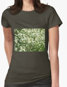 Large field overgrown with small white daisy flowers closeup Womens Fitted T-Shirt