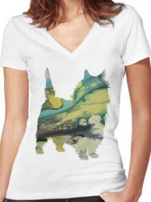 Caim terrier Women's Fitted V-Neck T-Shirt