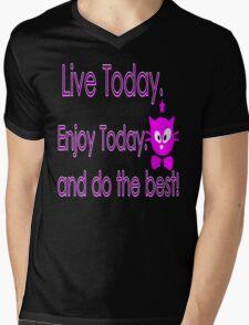 Live Today  txt kitty cat animation vector art Mens V-Neck T-Shirt