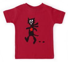 Black cat in Boots vector art Kids Tee