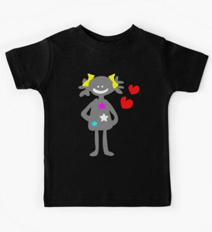 cute smiley girl vector art Kids Tee