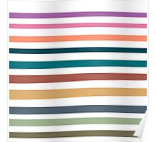 Modern trendy pink orange blue stripes pattern Poster
