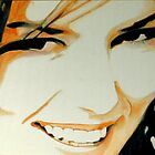 Shania's smile- Close up oil painting of Shania Twain by gforall