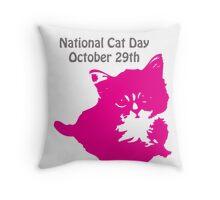 National Cat Day Throw Pillow