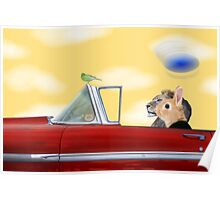 Whimsy and a Red Convertible Poster