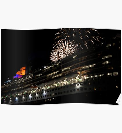 Fireworks over the Queen Mary 2 Poster