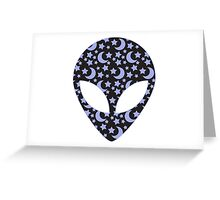 Alien Head Black and Blue Outer Space Background Greeting Card