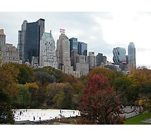 NY November Wollman Rink, Central Park, Fall Foliage Photographic Print