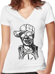 Clock Rapper Women's Fitted V-Neck T-Shirt