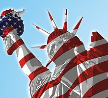 Statue of Lady Liberty - United States Flag by hqpopart