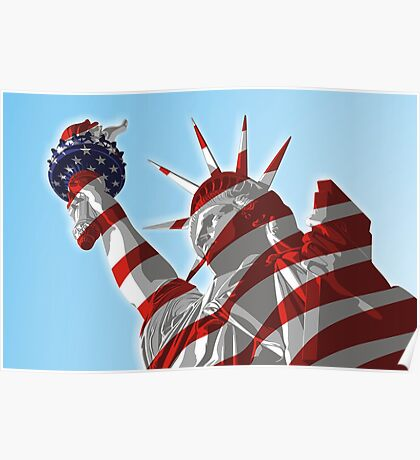 Statue of Lady Liberty - United States Flag Poster