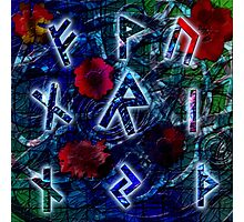 Runeflower - A Runic Design with Floral Accents Photographic Print