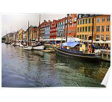 Nyhavn Boats, Copenhagen. Poster