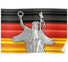 Statue of Lady Victoria - German flag - Goldelse Poster