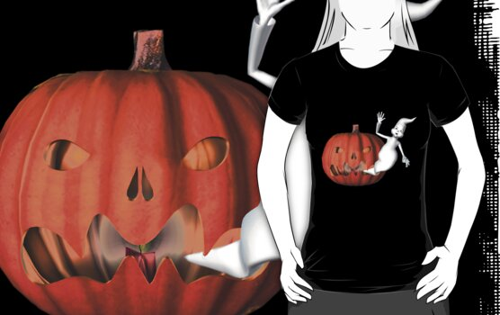 Cute Ghost Jack O Lantern Halloween Shirt by SmilinEyes