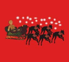 Greyhounds Gingerbread Man Sleigh Holiday Shirt by SmilinEyes