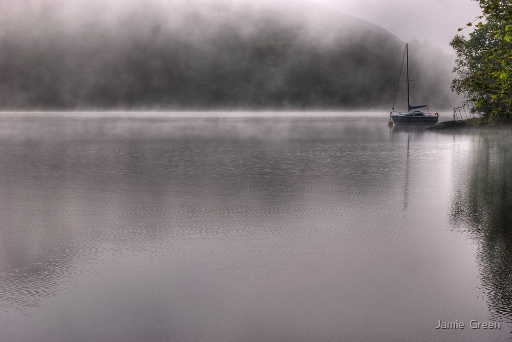 Coniston Water...Boat In The Mist by Jamie  Green