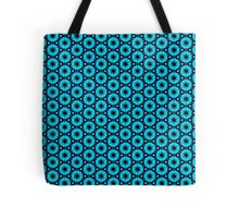 Aqua Navy Circle Pattern Tote Bag