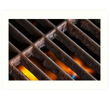 Crusty Iron Grill with Flames Beneath Art Print