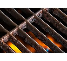 Crusty Iron Grill with Flames Beneath Photographic Print