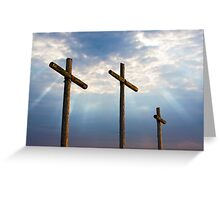Three Wooden Crosses and Glorious Sky Greeting Card