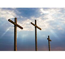 Three Wooden Crosses and Glorious Sky Photographic Print