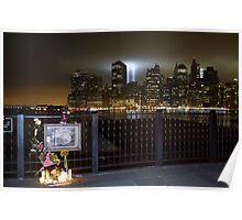 Brooklyn Promenade Memorial, WTC Memorial Lights in Background Poster